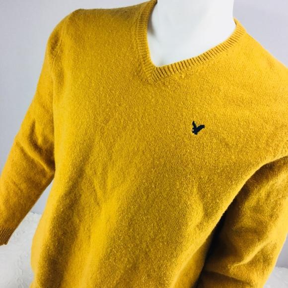 American Eagle AE Men/'s V-neck Wool Blend Sweater Sweatshirt Navy Black NWT